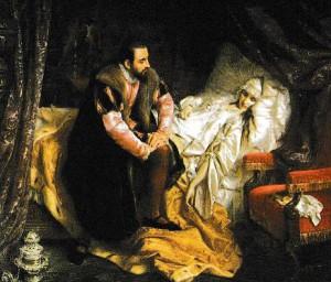 Йозеф Зимлер. Смерть Барбары Радзивилл (1860).